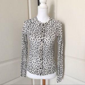 ANN TAYLOR LOFT Snow Leopard Cardigan Sweater